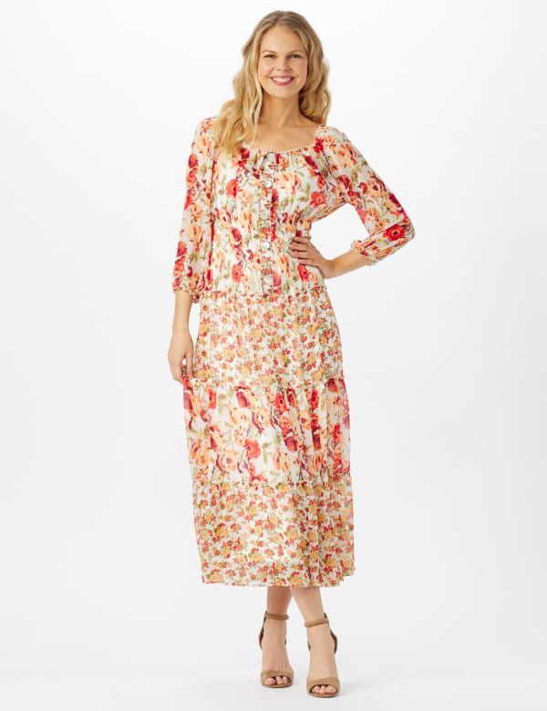 Mixed Ditsy Print Tiered Maxi Peasant Dress