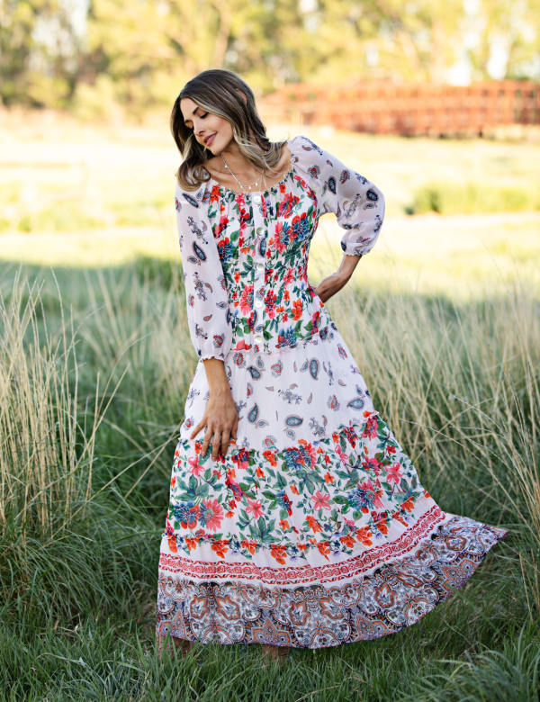 Border Print Tiered Maxi Peasant Dress - Nude/Orange - Front