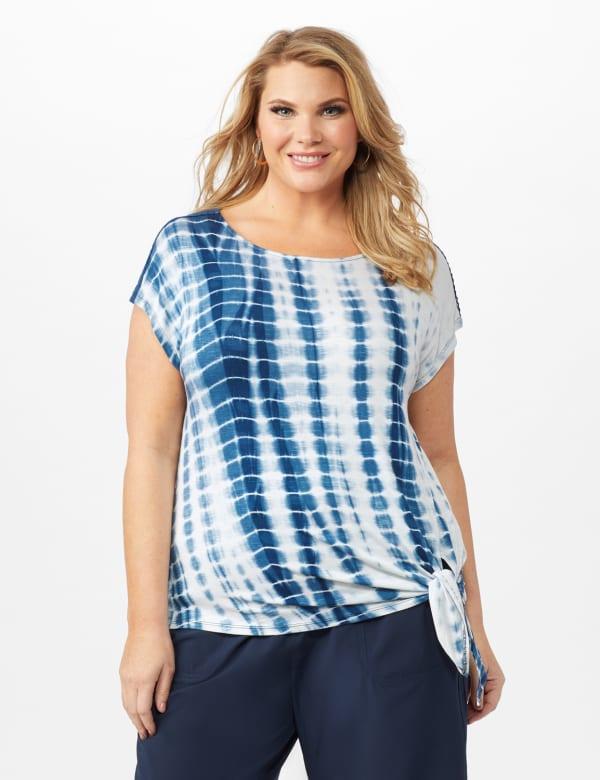 Side Tie Crochet Trim Tie Dye Top - Bijou Blue - Front