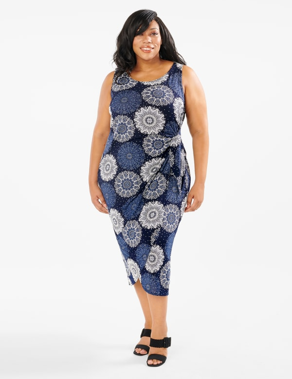 Side Tie Faux Wrap Medallion Dress - Navy - Front