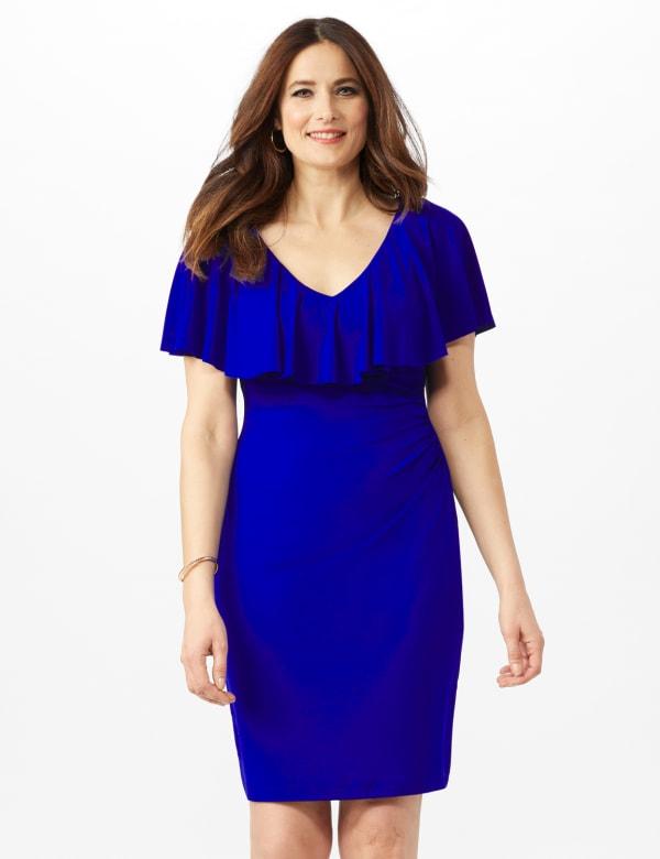 Cascade Ruffle Neck Shirred Waist Dress