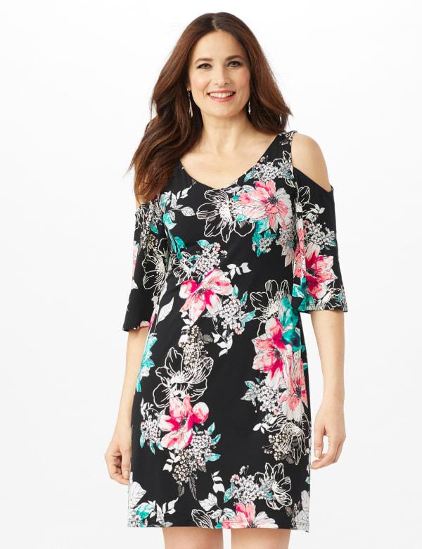 Cold Shoulder Elbow Sleeve Etched Floral Dress - Petite - Black - Front