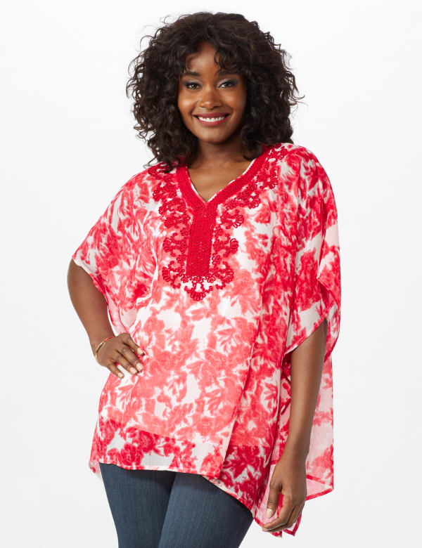 Crochet Trim Woven Tunic - Red - Front