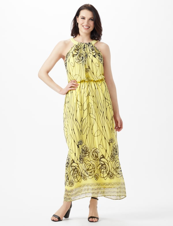 Halter Scribble Floral Chiffon Patio Dress -Yellow/Navy - Front