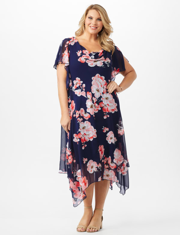 Floral Chiffon Drape Neck Hanky Hem Dress - Plus - Navy/Coral - Front