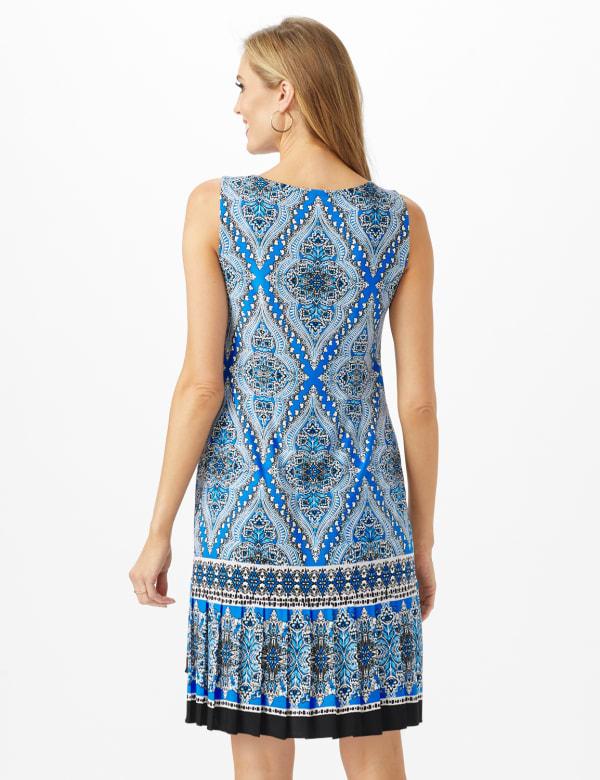 Medallion Print Dress With Pleated Hem