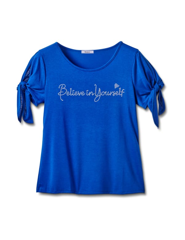 """""""Believe In Yourself"""" Cold Shoulder Tee - Blue - Front"""