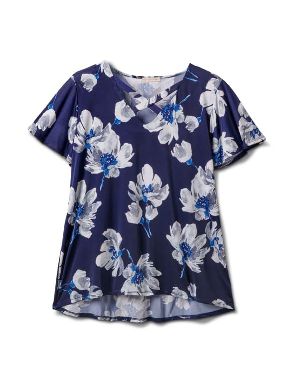 Criss Cross Neck Floral Knit Top - Plus - Navy - Front