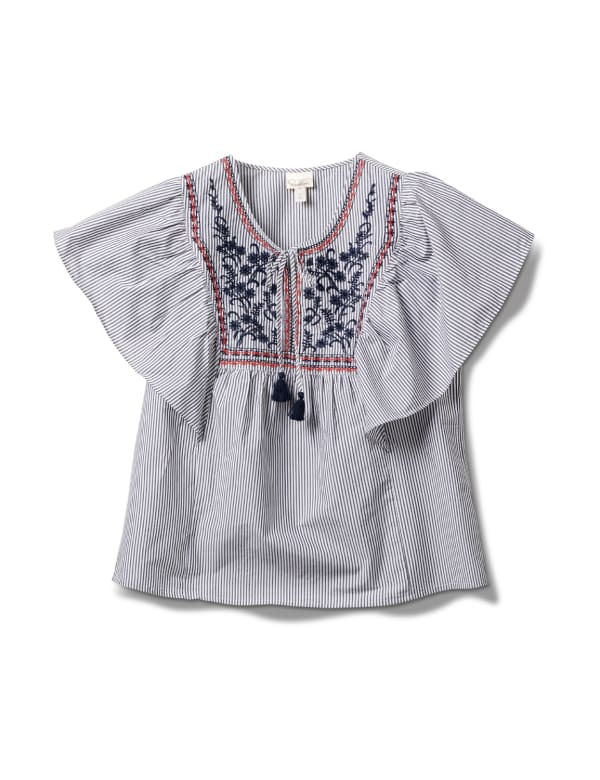 Embroidered Angel Sleeve Stripe Woven Top - Plus