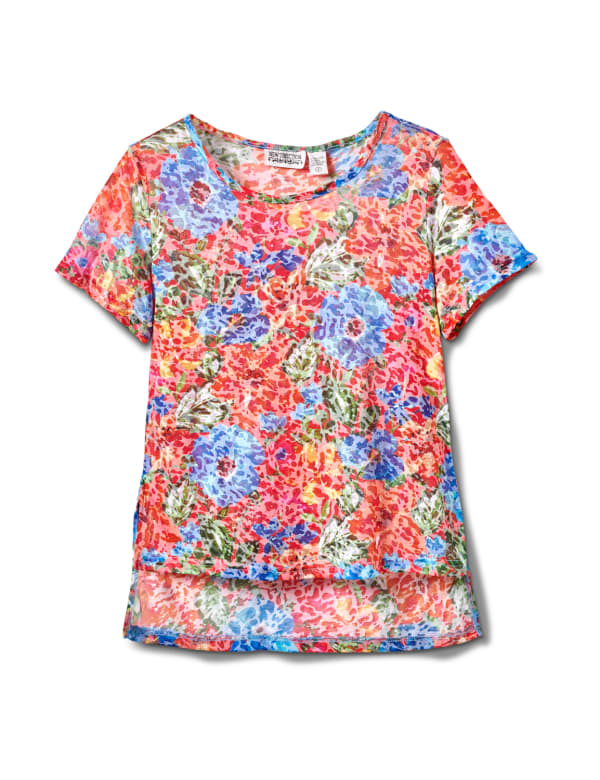 Floral Texture Knit Tee - Multi - Front