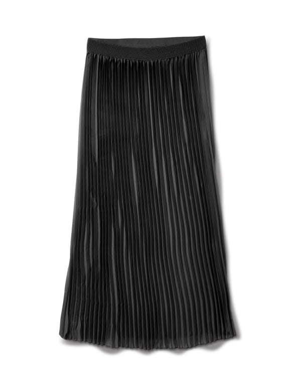 Solid Pleated Skirt With Contrast Elastic Waistband - Black - Front