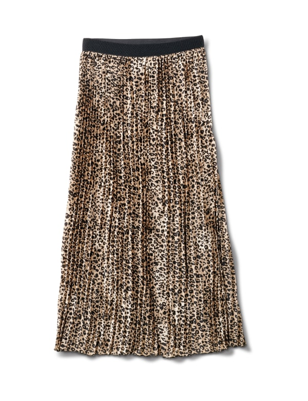 Printed Pleated Skirt With Contrast Elastic Waistband - Skin - Front