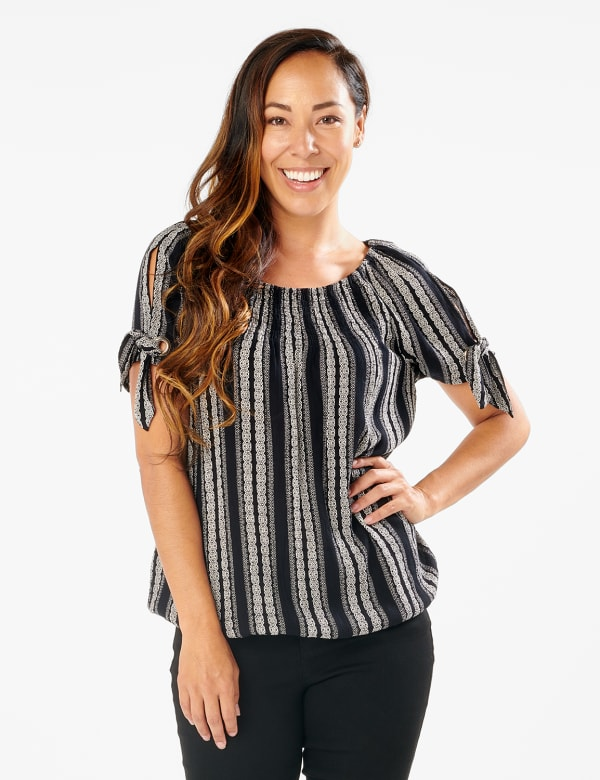 Smocked Geometric Grommet Tie Sleeve Top - Black/White - Front