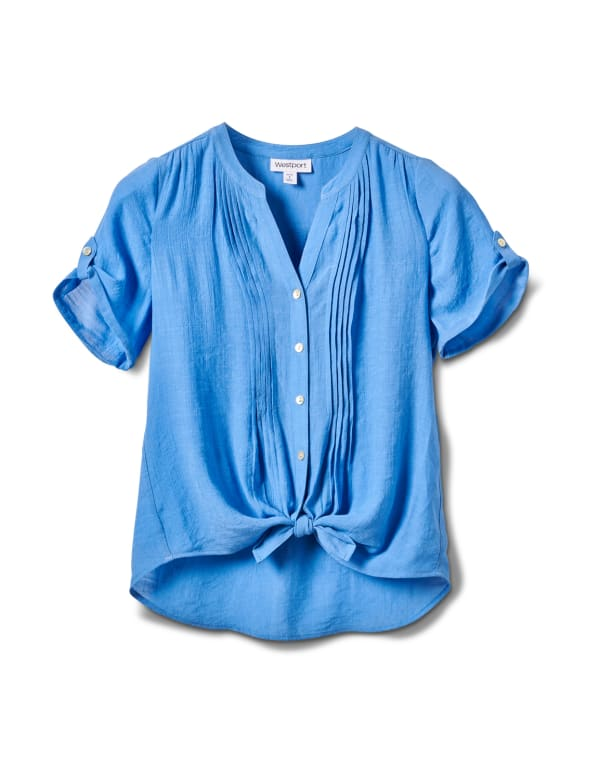 Pintuck Button Front Texture Shirt-Petite - Chambray - Front