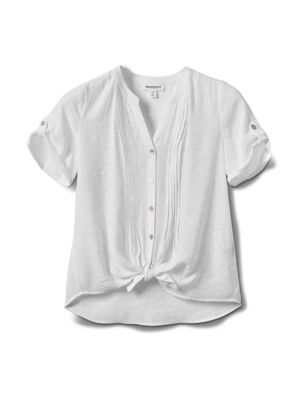 Pintuck Button Front Texture Shirt-Petite - White - Front