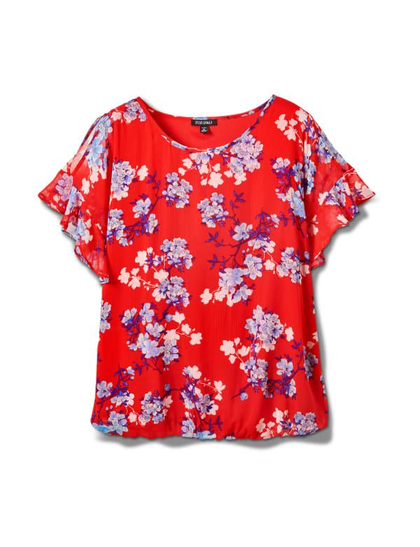 Floral Cold Shoulder Bubble Hem Top - Plus - Red - Front