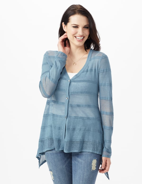 Button Front Sharkbite Cardigan - Misses - Antique Blue - Front