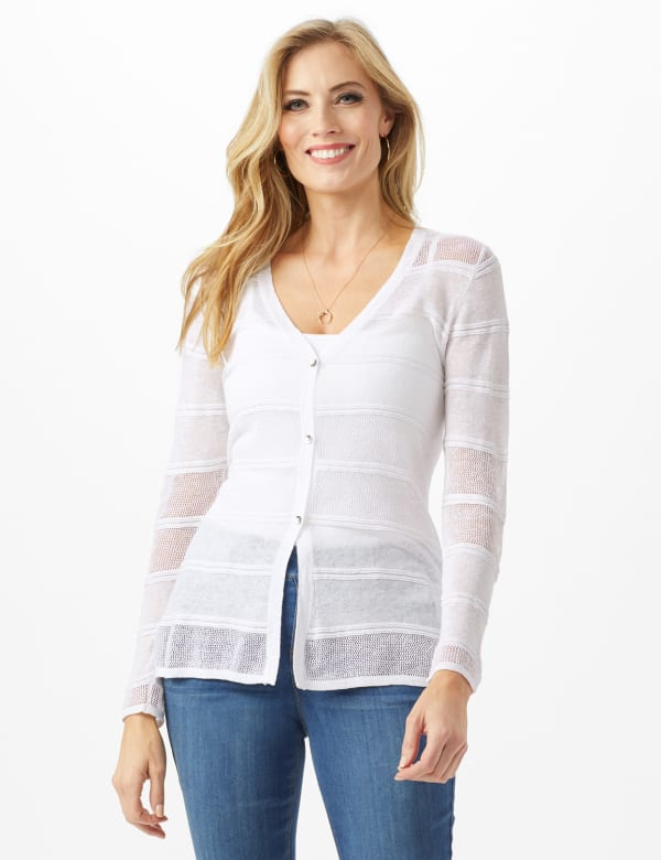 Button Front Sharkbite Cardigan - White - Front