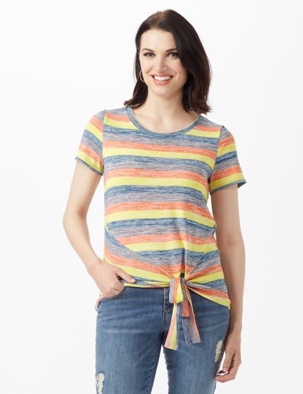 Bright Tie Front Stripe Knit Top - Multi - Front