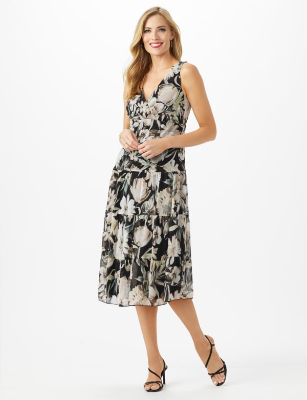 Sleeveless V-Neck Floral Flounce Detail Dress -Black - Front