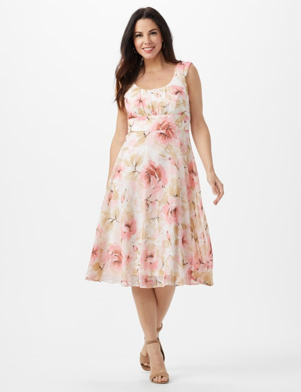 Rose Floral Emma Style Sleeveless Chiffon Dress - Rose - Front