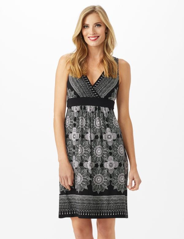 V-Neck Placed Border Mixed Print Dress - Black - Front