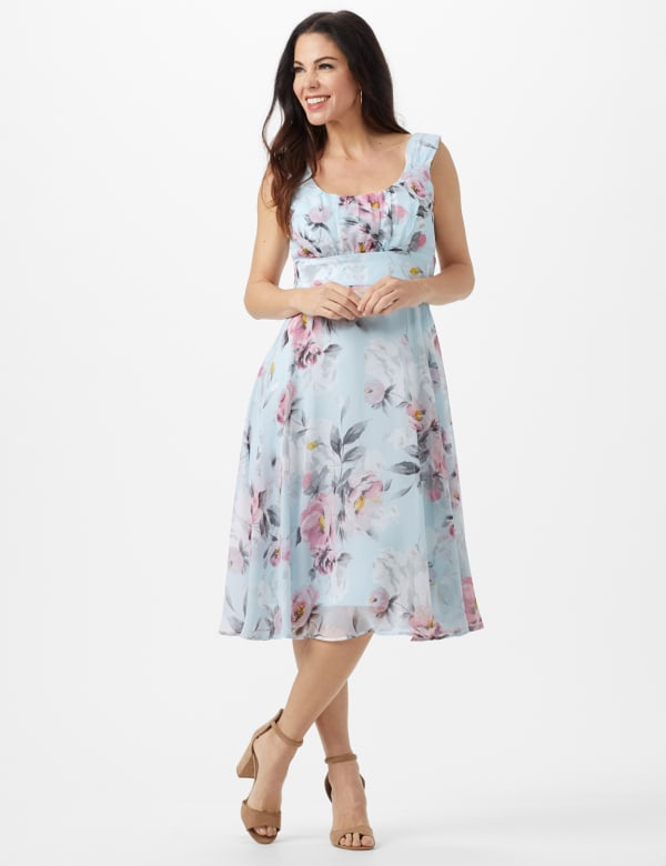 Aqua Floral Emma Style Sleeveless Chiffon Dress - Aqua - Front