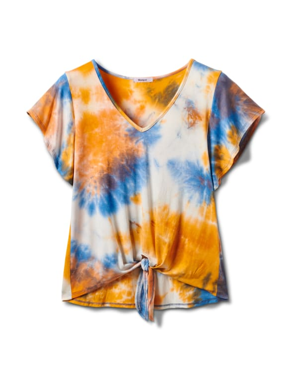 Tie Dye Tie Front Knit Top - Orange - Front