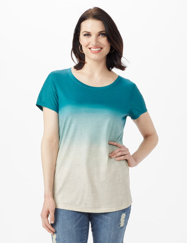 Heathered Ombre Knit Tee - Blue - Front