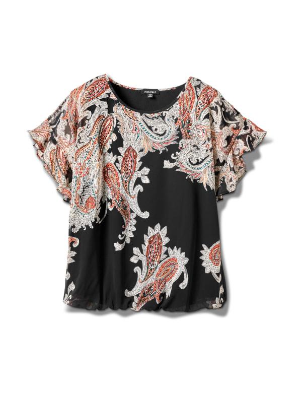 Roz & Ali Paisley Colder Shoulder Blouse - Plus - Black - Front