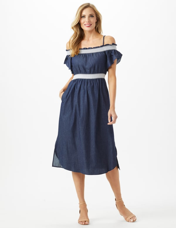 Denim Cold Shoulder Dress Smocked Waist - Dark Denim - Front
