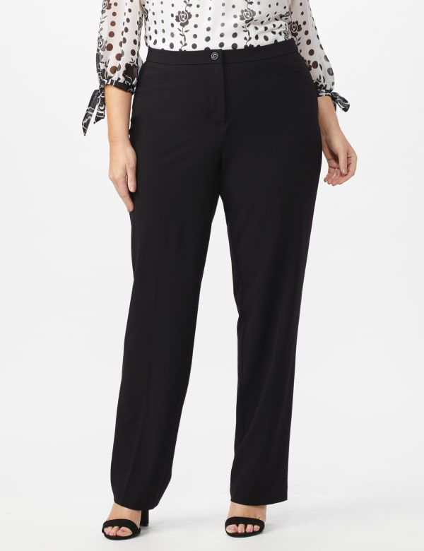 Plus Roz & Ali Secret Agent Trouser with Cateye Pockets & Zipper- Short Length -Black - Front