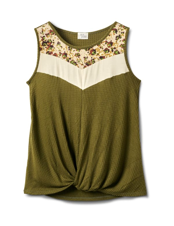 Mixed Camo Knot Front Knit Top - Misses - Olive - Front