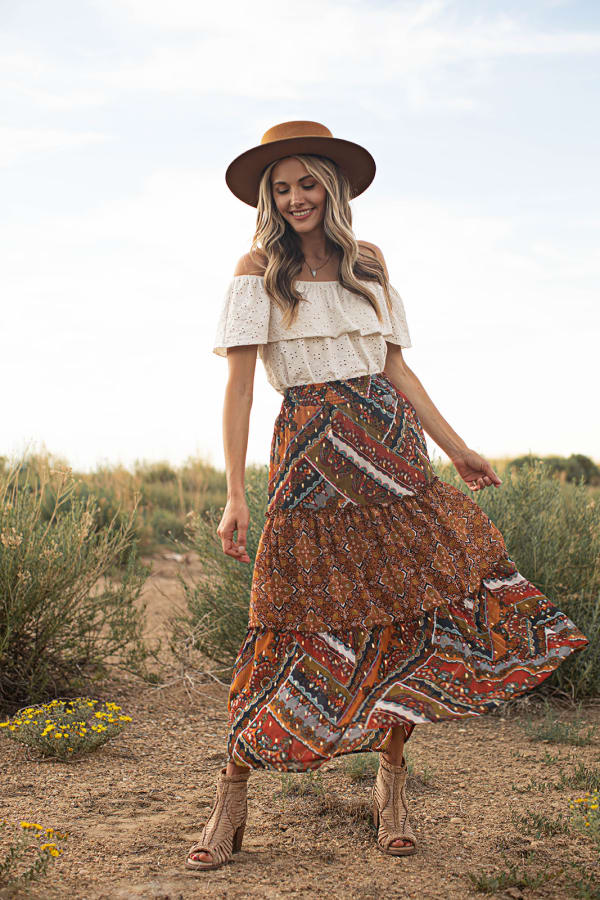 Elastic Waistband Pullon 3 Tiered Maxi Skirt - Copper - Front