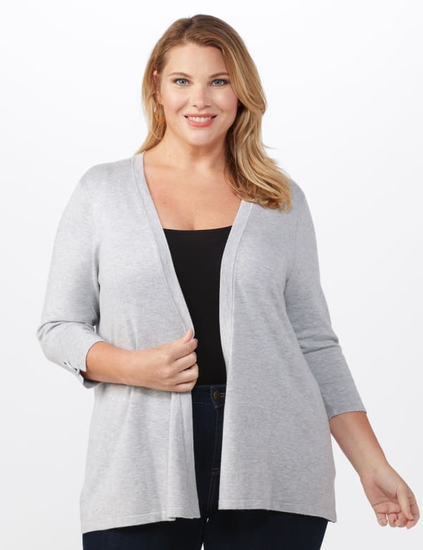 Roz & Ali Lace-Up Back Cardigan - Plus - Light Heather Grey - Front