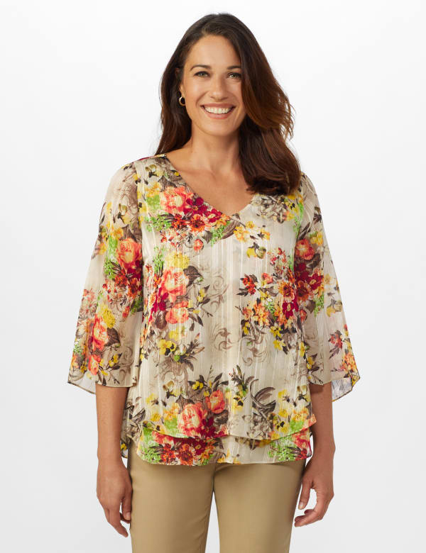 Roz & Ali Fly Away Back Lurex Blouse - Misses - Taupe - Front