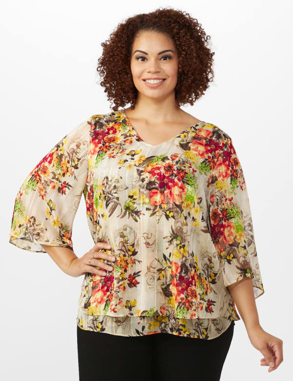 Roz & Ali Fly Away Back Lurex Blouse - Plus - Taupe - Front