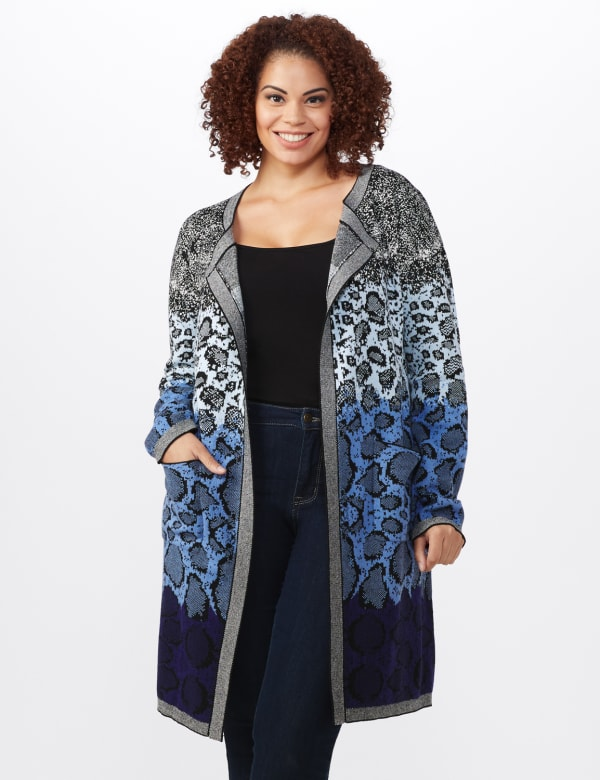 Roz & Ali Ombre Animal Duster Sweater - Plus - Blue Combo - Front