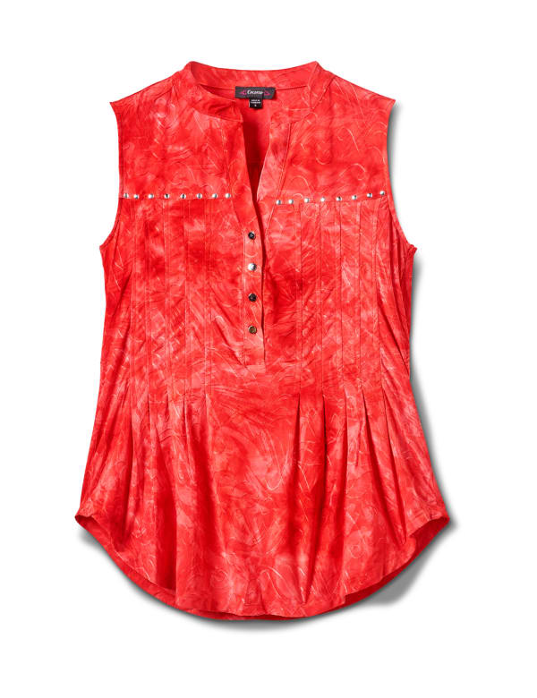 Studded Jaquard Pintuck Popover - Jalapeno/Red - Front