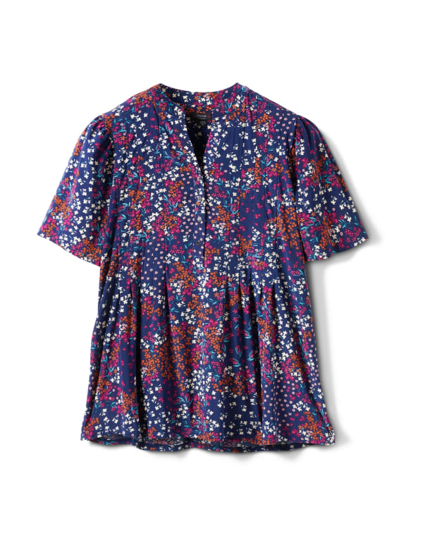 Elbow Floral Pintuck Popover - Navy/Nutmeg - Front