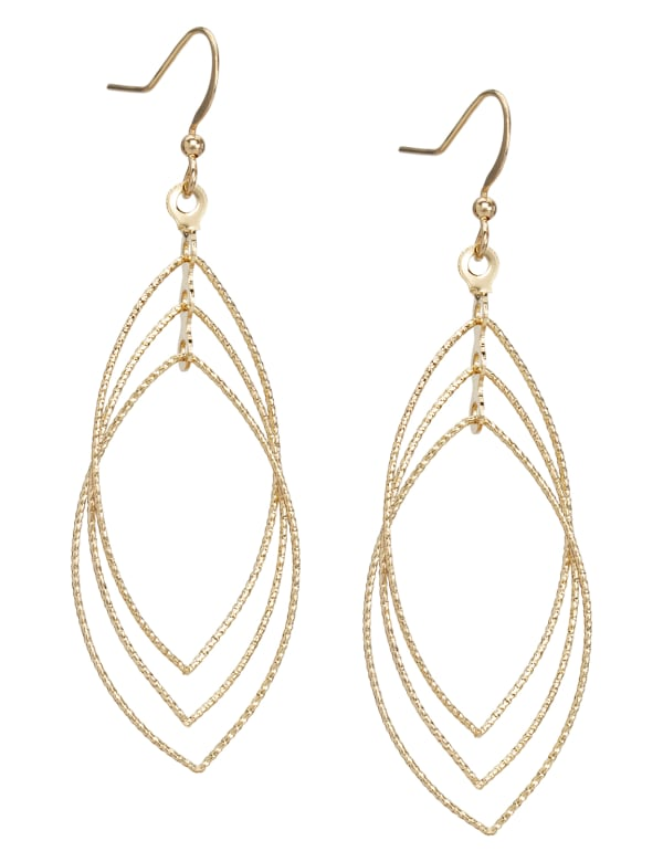 Layered Gold Leaf Earrings - Gold - Front