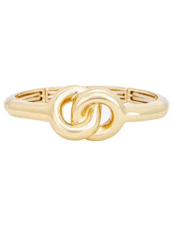 Gold Knot Bangle Bracelet - Gold - Front