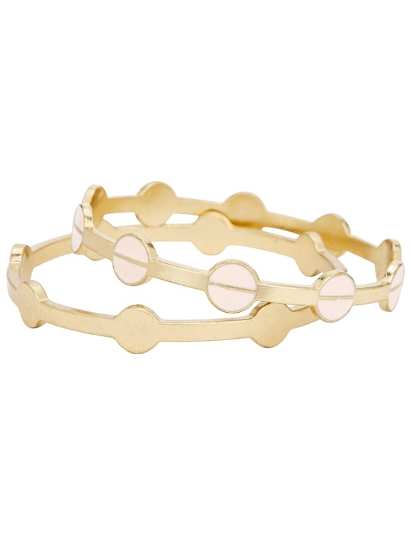 Gold Circle Bangle Bracelet Duo - Gold - Front