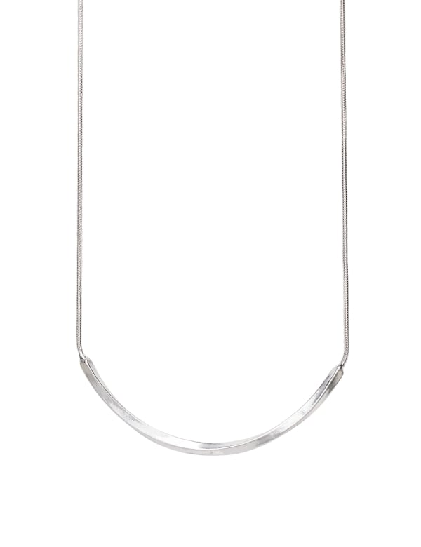 Simple Silver Bar Necklace - Silver - Front