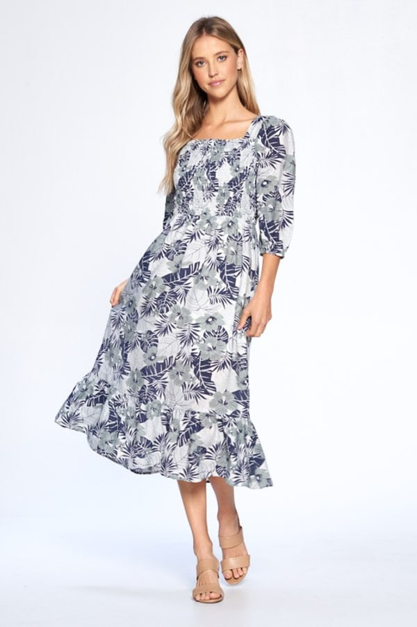 Floral Print Everyday Dress - Blue - Front