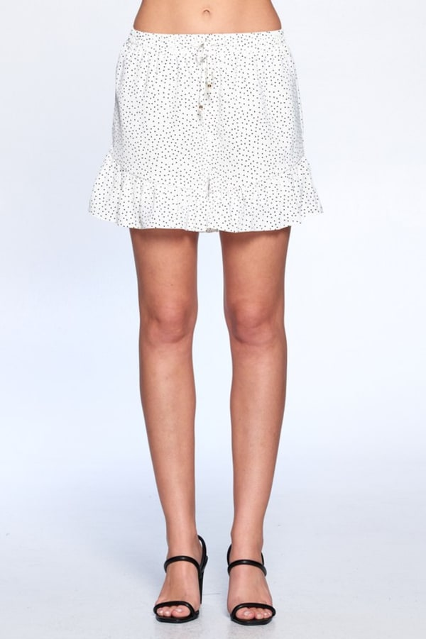 Dot Print Flutter Hem Shorts - Off White - Front