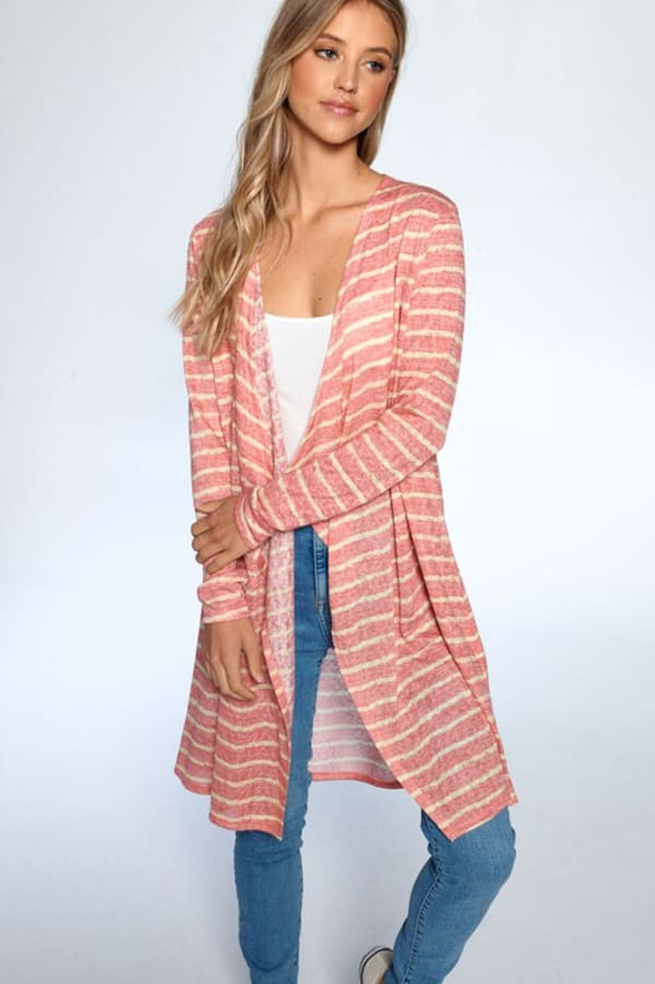 Loose Fit Striped Cardigan - Coral Combo - Front