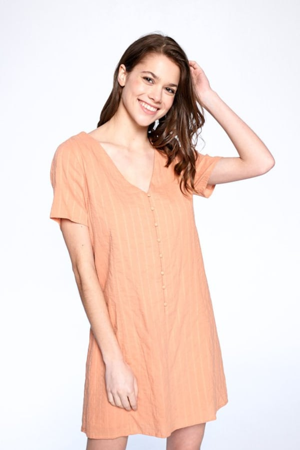 Drawstring Back Night Dress - Dusty Coral - Front
