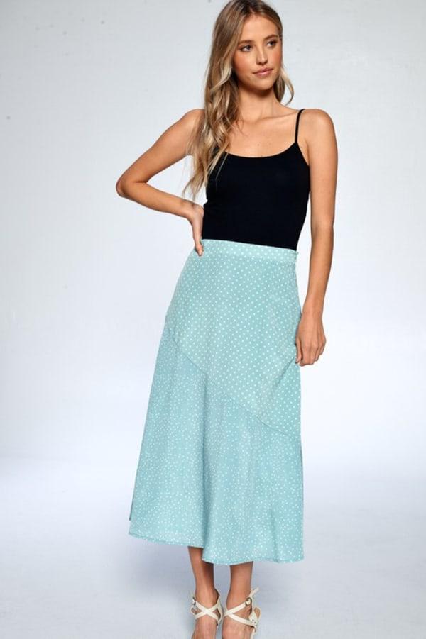 Dot Print Ankle Length Skirt - Dusty Mint - Front