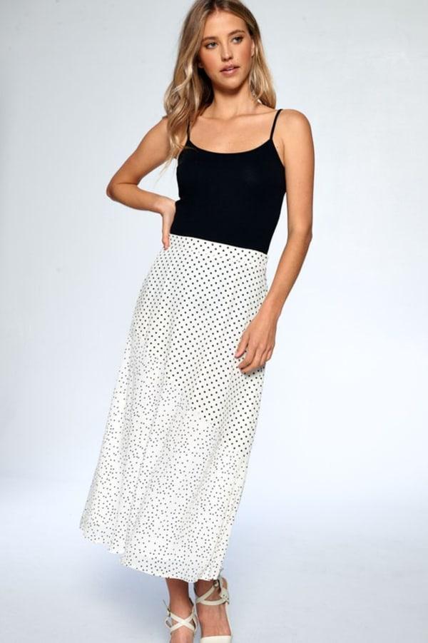 Dot Print Ankle Length Skirt - Ivory - Front